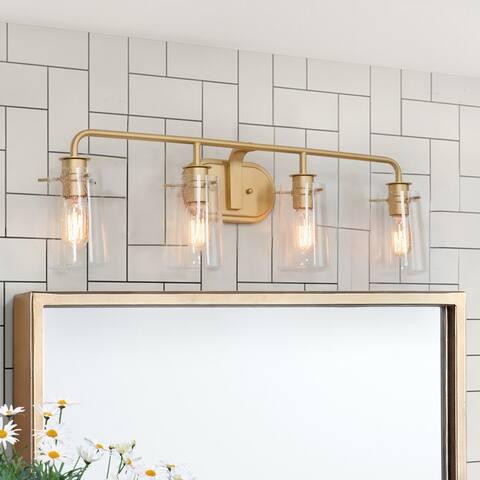Modern Gold 4-light Bathroom Vanity Lights Seeded Glass Sconce