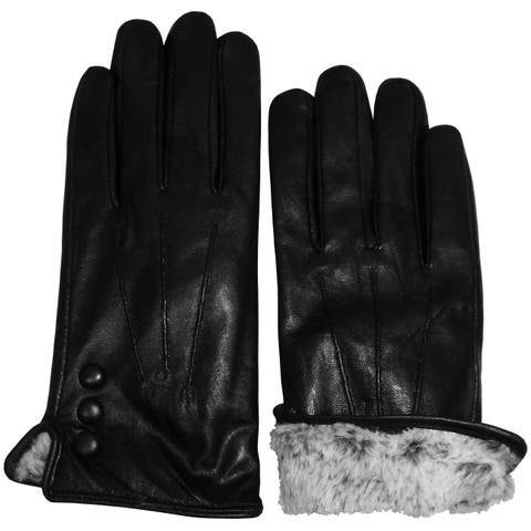 ab16e4645e7cd NICE CAPS Womens Genuine Kid Leather Gloves With Plush Lining And Button  Trim - Black