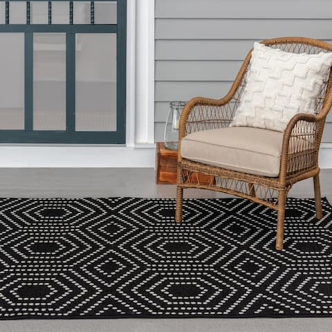 Tecopa Black and White Indoor Outdoor Woven Area Rug