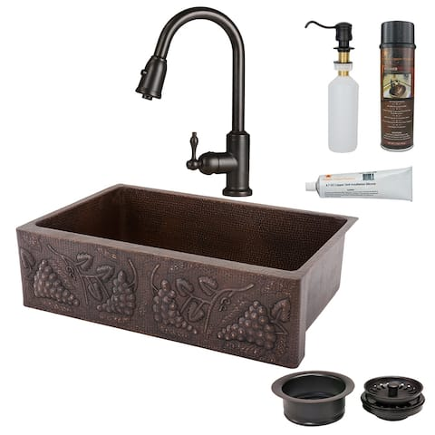 Premier Copper Products KSP2_KASDB33229G Kitchen Sink, Pull Down Faucet and Accessories Package