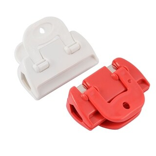 Home Kitchen Food Storage Plastic Pocket Sealing Bag Clips Clamp Red White 2pcs