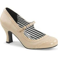 Pleaser Pink Label Women's Jenna 06 Mary Jane Cream Faux Leather/Patent