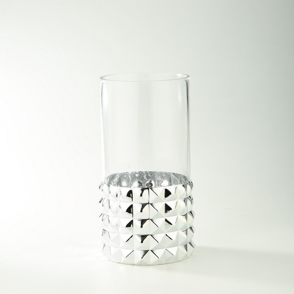 "12"" Silver and Clear Pyramid Pattern Cylindrical Glass Vase - N/A"