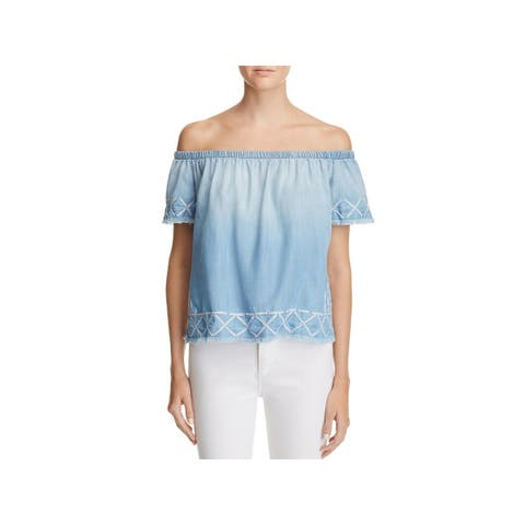 Bella Dahl Womens Blouse Tencel Embroidered