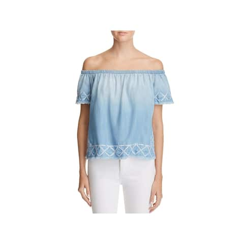 Bella Dahl Womens Casual Top Tencel Embroidered