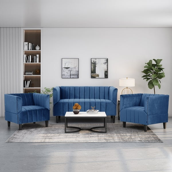 Weymouth Contemporary Channel Stitch Velvet Settee and Club Chair Set by Christopher Knight Home