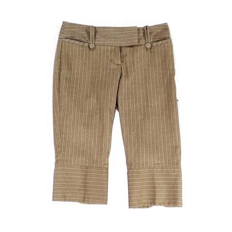 XOXO Brown Size 6X17 Junior Stripe Capris Cropped Stretch Pants
