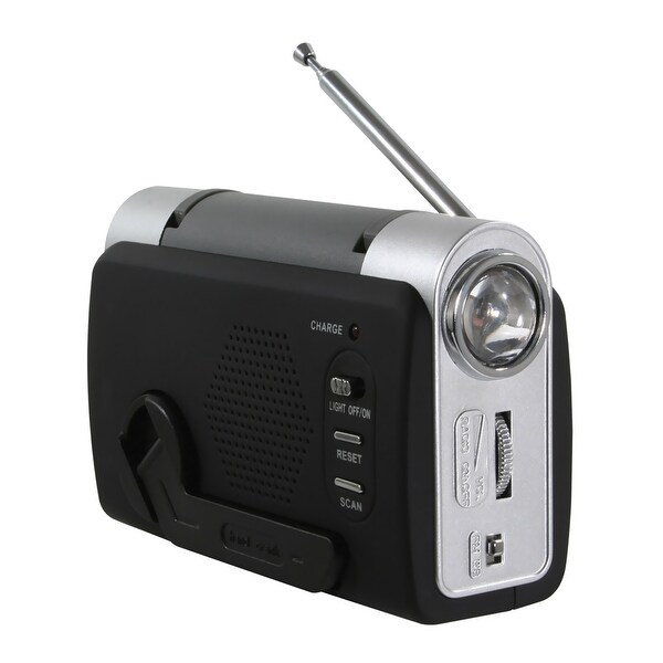 Offex Hand Crank Emergency Radio - Silver