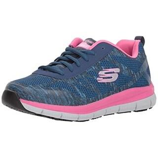 Skechers Women's Comfort Flex Sr Hc Pro Health Care Professional Shoe,Navy/Pink,8.5 M Us