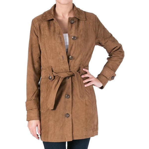 Walter Baker Womens Desi Trench Coat Suede Outerwear