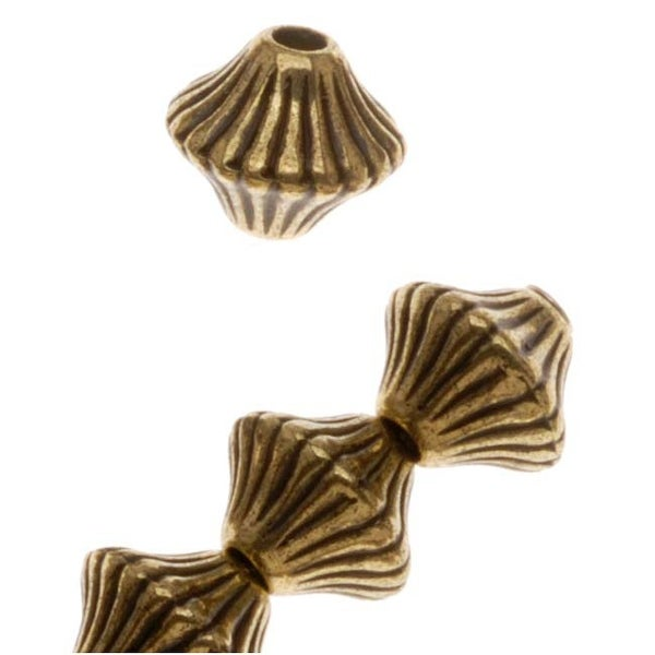 Antiqued Brass Tone Metallized Plastic Fluted Bicone Beads - 6mm (50)