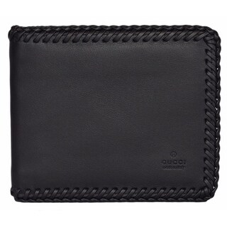 "Gucci Men's 353301 Black Leather Braided Trim Trademark Logo Bifold Wallet - 4.5"" x 3.8"""