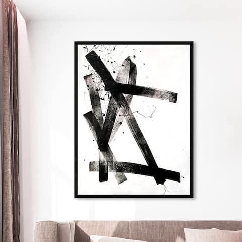 Oliver Gal 'Celery Jones - Passive Strokes' Abstract Wall Art Framed Print Paint - Black, White