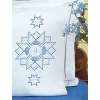 Stamped Pillowcases W/White Perle Edge 2/Pkg-Xx Star