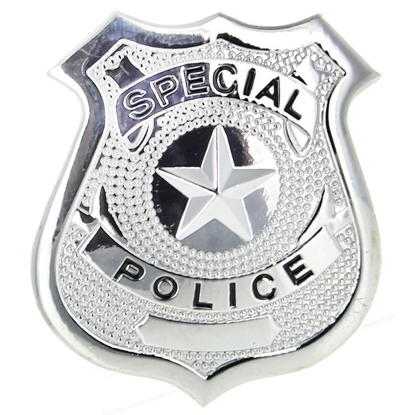 Special Police Badge Silver Costume Accessory