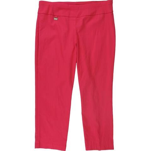 Alfani Womens Tummy-Control Casual Trouser Pants, Pink, 18