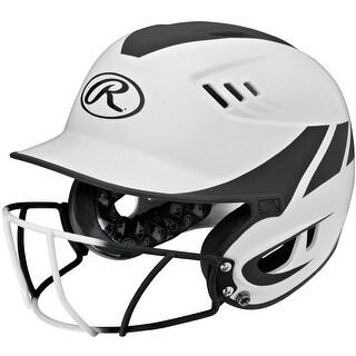 Rawlings Velo Senior 2-Tone Home Softball Helmet w/Mask-Blk - R16H2FGS-W/MBK