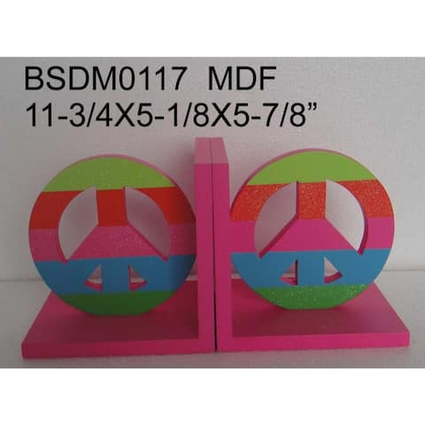 "11.75"" Pink and Green Contemporary Peace Bookend"