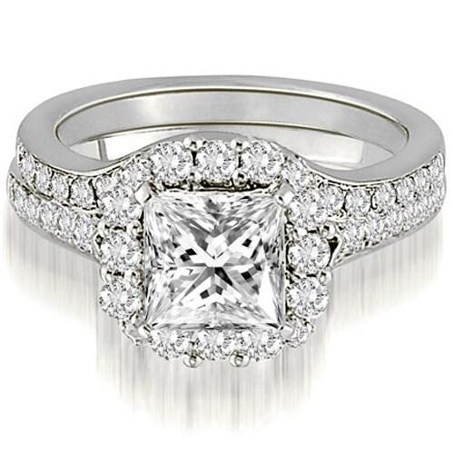 18K White Gold 1.17 CT Halo Princess & Round Cut Diamond Engagement Bridal Set. Opens flyout.