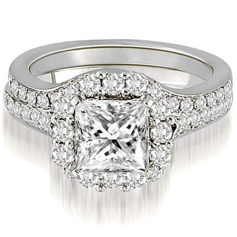 18K White Gold 1.17 CT Halo Princess & Round Cut Diamond Engagement Bridal Set