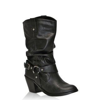 Soda Womens Most-H Western Slouchy Boots