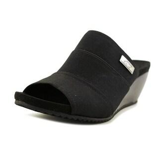 Anne Klein Sport Chanay Women Open Toe Canvas Black Wedge Heel