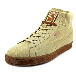 Puma Suede Embossed Mixed Rubber Mid Men Round Toe Suede Tan Sneakers