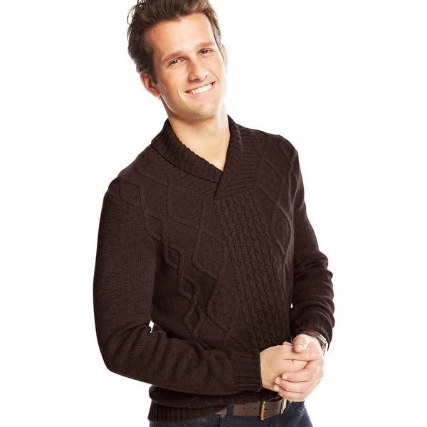 Shop Club Room Mens Cable Knit Sweater Medium Shawl Collar Brown
