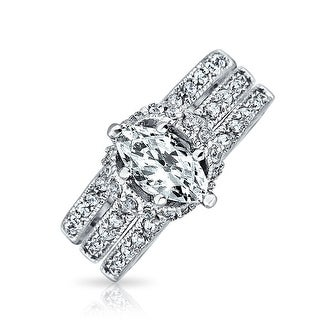 Bling Jewelry Marquise Pave CZ Engagement Wedding Ring Set 925 Silver