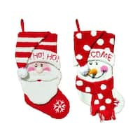 2 Plush Hooked Santa Claus and Snowman Red and White Christmas Stockings 18.5""