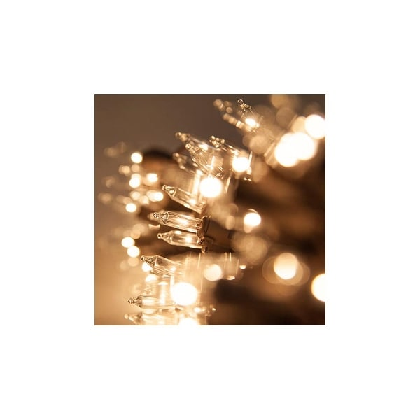 """8.3' Long Indoor Standard 20 Mini Light Holiday Light Strand with 4"""" Spacing and Brown Wire - CLEAR - N/A"""