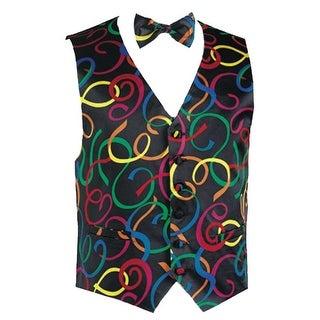 Mardi Gras Confetti Novelty Tuxedo Vest and Bow Tie - multicoloured