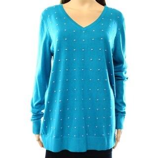 Michael Kors NEW Blue Women's XL Ribbed Trim Studded V-Neck Sweater