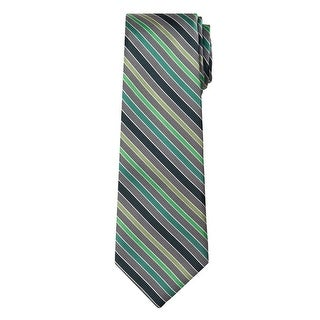 Marquis Men's Gray And Green Stripes 3 1/4 Tie & Hanky Set TH100-043