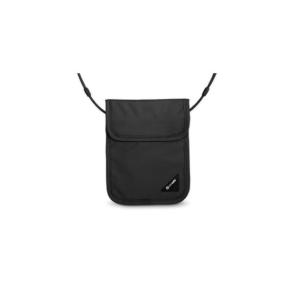 Pacsafe Coversafe X75-Black RFID Blocking Neck Pouch w/ Velcro Flap Closure