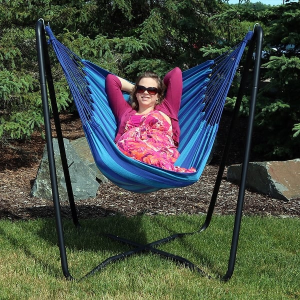 Sunnydaze Hanging Rope Hammock Chair Swing With Space Saving Stand Beach Oasis Overstock 28727991