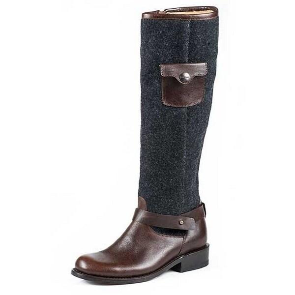 "Stetson Western Boots Women 16"" Zipper Round Brown"