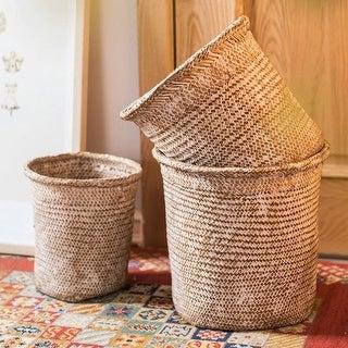 RusticReach Round Straw Basket