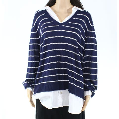 Foxcroft Womens Plus Pullover Twofer Striped Sweater