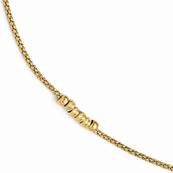 Italian Sterling Silver Gold-plated Polished Anklet with 1in ext - 9 inches