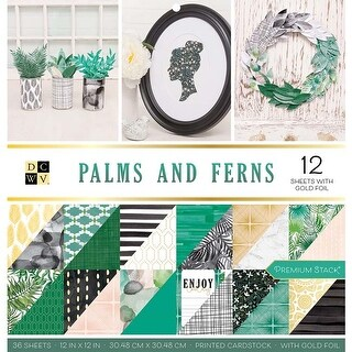 """Palms & Ferns - Dcwv Double-Sided Cardstock Stack 12""""X12"""" 36/Pkg"""