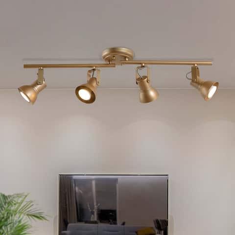 "Transitional Gold Tracking Lighting 4-lights LED Compatible Semi-Flush Ceiling Spotlights - 29"" * 5"" * 7.5"""