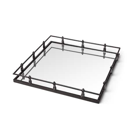 Mercana Christa Natural Metal Mirrored Base Square Tray - 22.0L x 22.0W x 3.1H