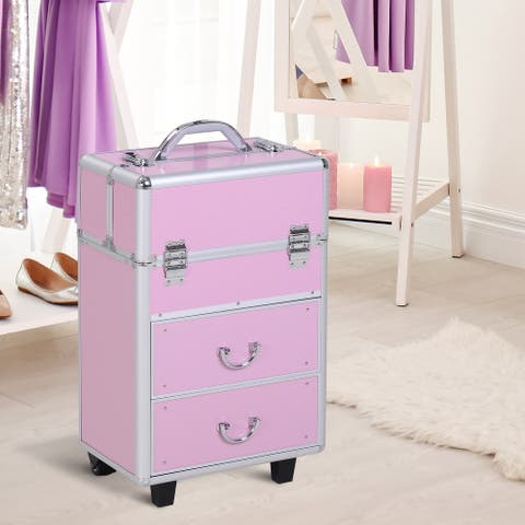 Soozier 4 Tier Lockable Cosmetic Makeup Case with Extendable Trays - 9.1*14.2*22.8