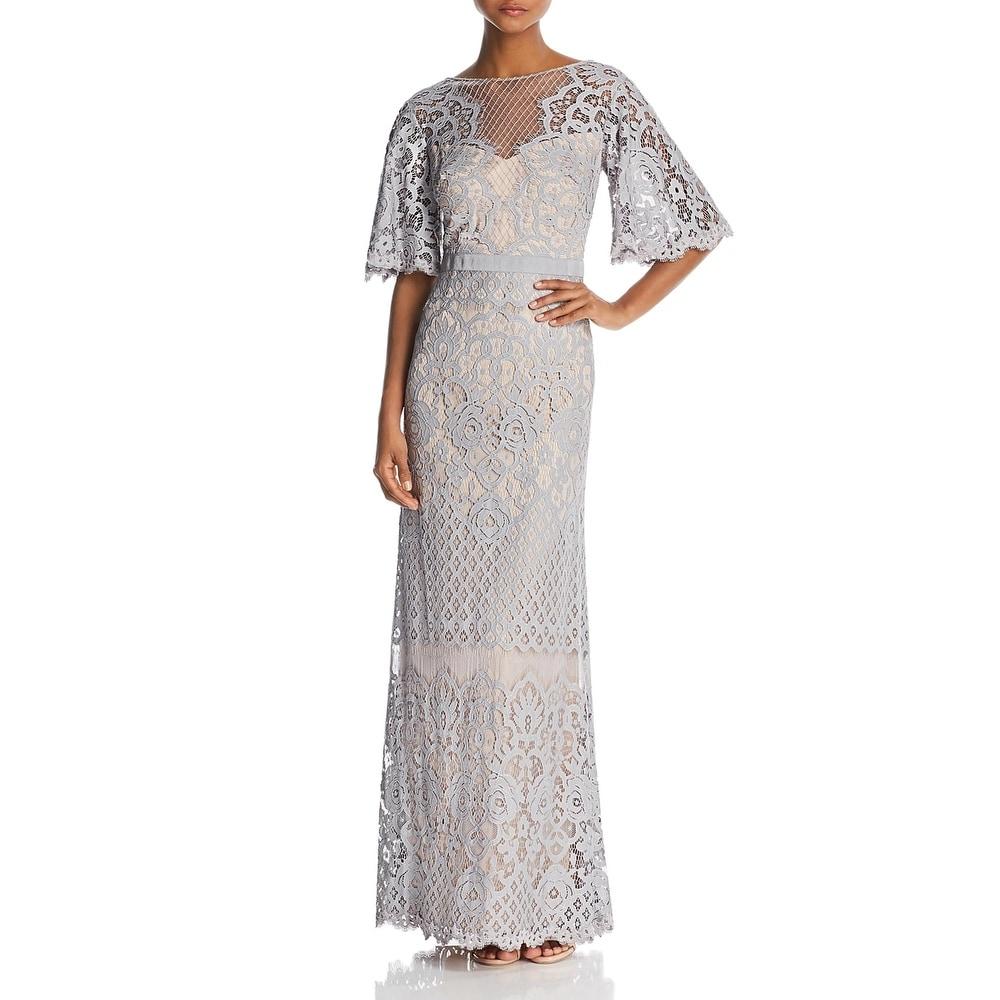 Tadashi Shoji Womens Evening Dress Lace Column