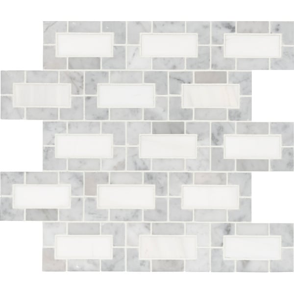 "MSI SMOT-DOL-LYNXP Bianco Dolomite - 12"" x 12"" Brick Joint Mosaic Sheet - Polished Marble Visual - Sold by Carton (10 - White"