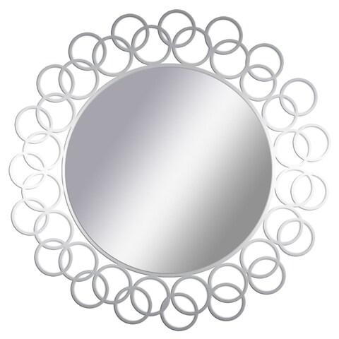 PTM Images 5-1664 15-1/2 Inch Diameter Round Interlocking Ring Framed Mirror - Silver - N/A