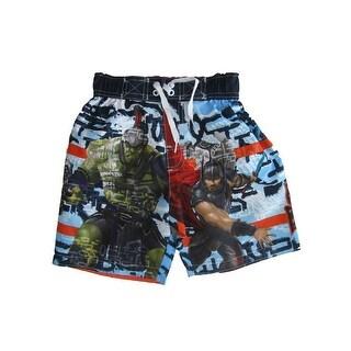 Marvel Little Boys Light Blue Thor Ragnarok Swim Shorts
