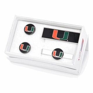 University of Miami Hurricanes Cufflinks, Money Clip, Tie Bar Gift Set - Multicolored