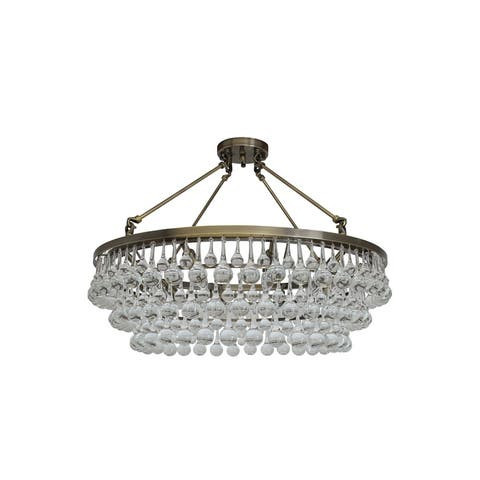 Celeste Flush Mount Glass Drop Crystal Chandelier Antique Brass - Antique Brass